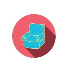 Armchair icon comfortable furniture sign vector