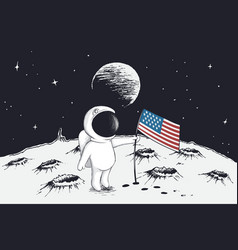 astronaut sets a flag of usa on moon vector image