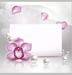 Background with orchid and pearls vector