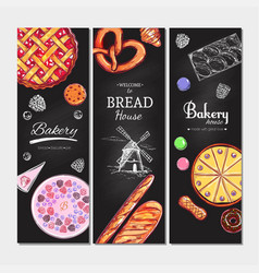 Bakery and bread banners3 vector