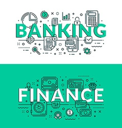 Banking and Finance Concept Colored flat in vector