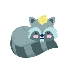 bashower cute raccoon sleeping animal cartoon vector image