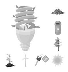 bio and ecology monochrome icons in set collection vector image
