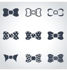 Black bow ties icon set vector