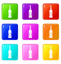 Bottle of beer icons 9 set vector