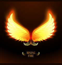 Bright glowing fire angel wings vector image