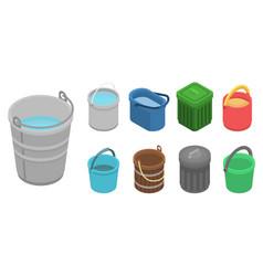 bucket icon set isometric style vector image