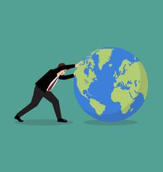 Businessman pushing world forward vector