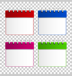 calendar blue red green and pink colors isolated vector image