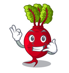 Call me whole beetroots with green leaves cartoon vector