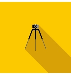 Camera on a tripod icon flat style vector