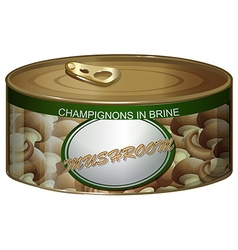 Can of champignons in brine vector image