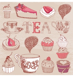 Card with tea cakes vector image