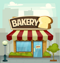 Cartoon bakery shop building small business banner vector