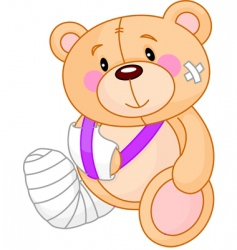 Cartoon sick teddy bear vector