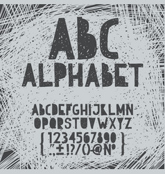 chalk hand draw doodle abc alphabet grunge vector image