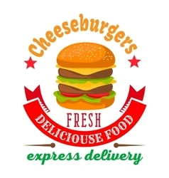 Cheeseburger round icon for fast food cafe design vector image