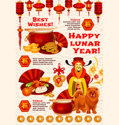 Chinese new year dog and god of wealth banner vector