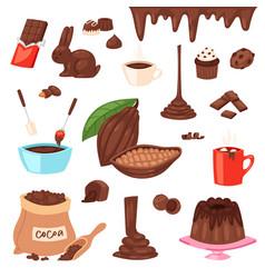 chocolate cartoon cocoa choco sweet food vector image