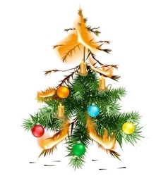 Christmas tree lit accident The fire disaster vector