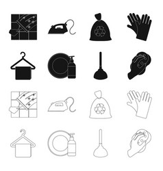 cleaning and maid blackoutline icons in set vector image