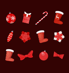 collection christmas toys decoration vector image