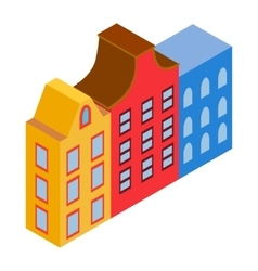 Colorful Amsterdam houses icon isometric 3d style vector