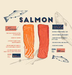 Comparison between wild and farmed salmon filet vector
