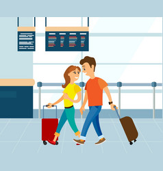Couple with luggage in airport man and woman vector
