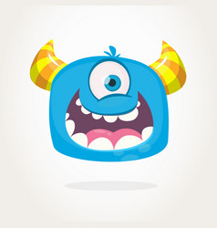 cute cartoon monster with horns with one eye vector image