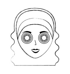 Cute woman with cucumber mask vector
