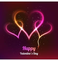 Dark background with 3 glowing hearts for my vector