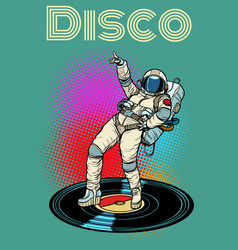 Disco woman astronaut dancing vector