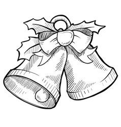 doodle christmas bells vector image vector image