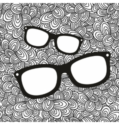 Doodle pattern with black and white glasses image vector