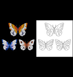 embroidery butterfly design vector image