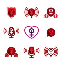 Female gender icons set vector