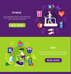 Fitness diet horizontal banners vector