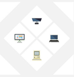 Flat icon laptop set of pc notebook computing vector