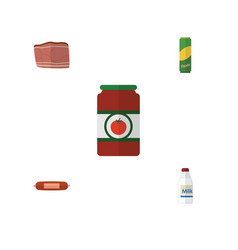flat icon meal set of kielbasa beef ketchup and vector image