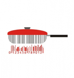 frying pan and barcode vector image