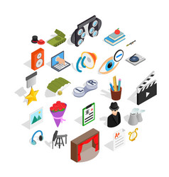 functioning icons set isometric style vector image