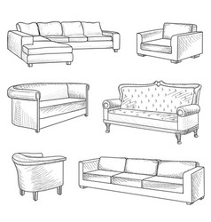 Furniture set interior room furnishing bed sofa vector