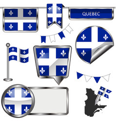 Glossy icons with flag of province quebec vector