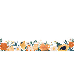 Gorgeous floral backdrop with border blooming vector