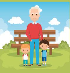 Grandpa and geandchildren in the park vector