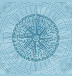 grunge background with antique wind rose vector image