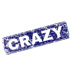 Grunge crazy framed rounded rectangle stamp vector