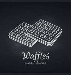 hand drawn belgian waffles vector image