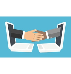 handshake from laptop screen vector image